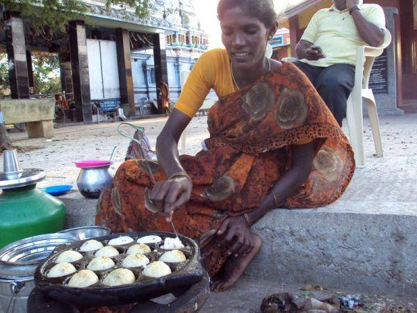 Muniyamma making Paniyaram