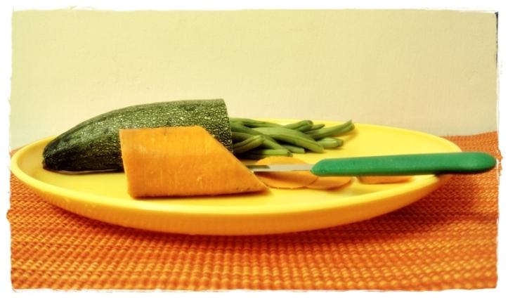 Zucchini, carrots, beans