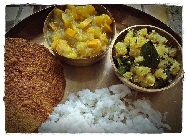 Radish subzi served with rice