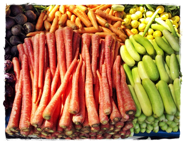 carrots stacked in the market