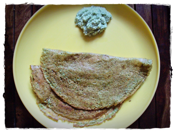 mung dosa served with green coconut chutney