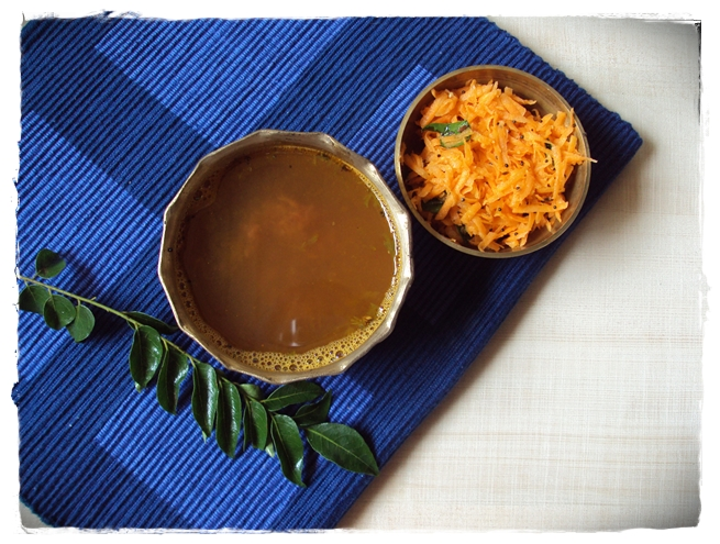 rasam and carrot salad