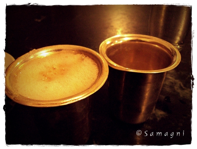 Coffee served in silver glasses