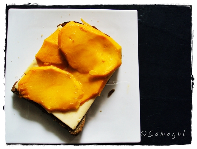 Open face mango cheese sandwich