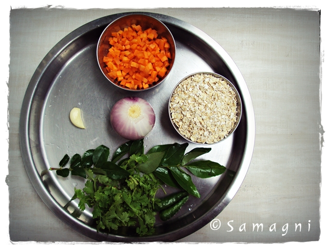 Partial ingredients for oats upma