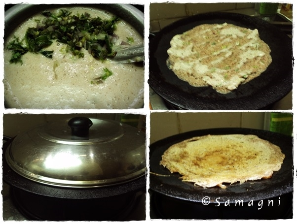 Making ragi dosa