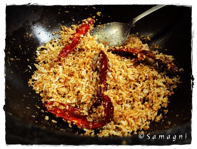 Roasted coconut and dry red chillies