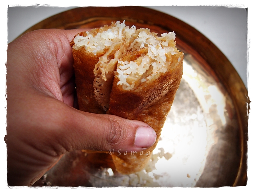 Wheat dosa with sweet filling
