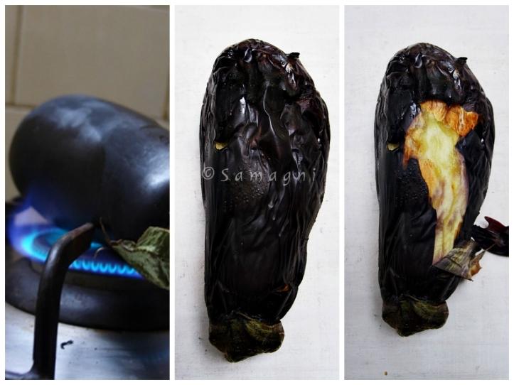 Fire roasting an eggplant