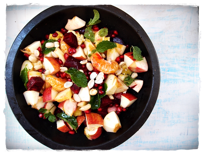 Fruit and beet salad